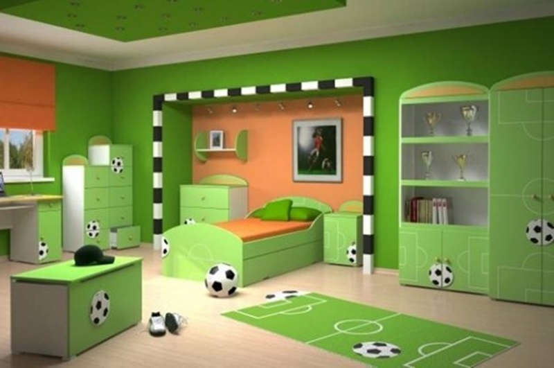 Child Bedroom Design With Football Themes Photo 6 Of 10