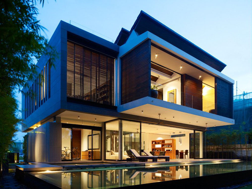 Amazing modern architecture of the beautiful house design Modern house columns