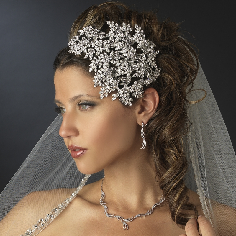 vintage wedding hairstyle crystal headpiece