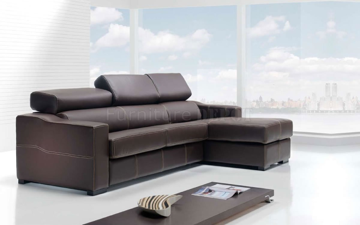 Brown Corner side Leather Sleeper Sofas