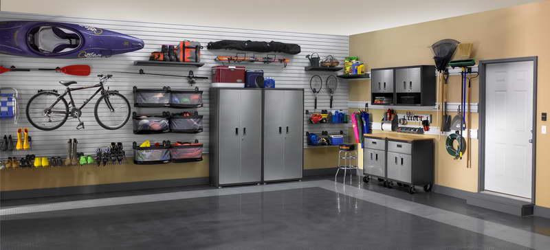 DIY Garage Shelves With Light Gray