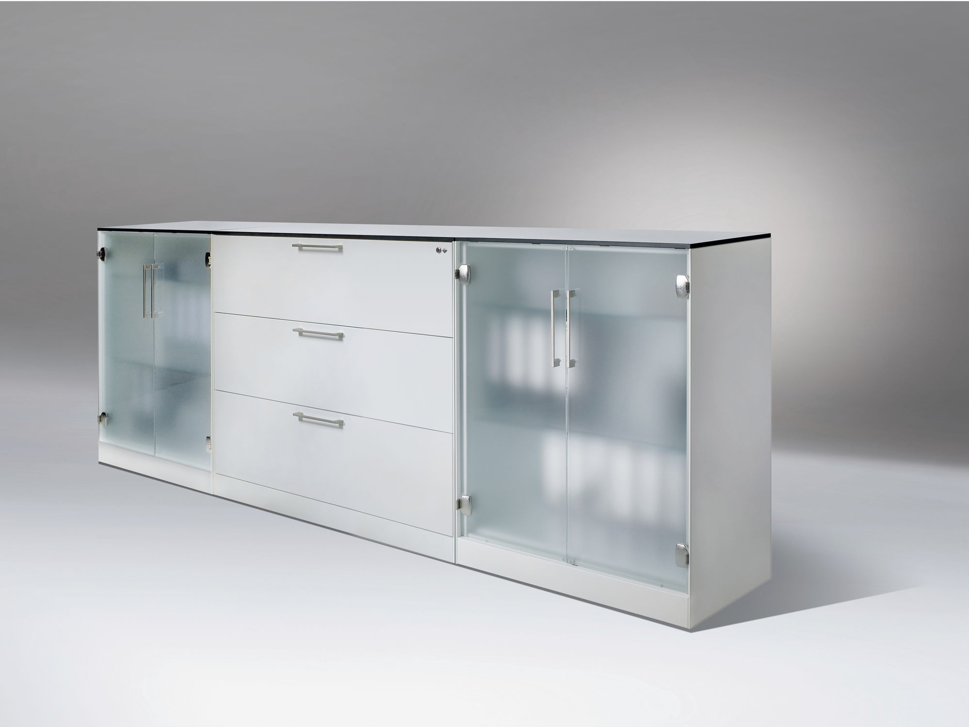 Great Frosted Minimalist Glass Cabinets (Image 2 of 10)