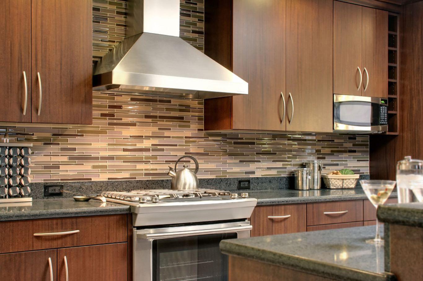 Modern Brown Glass Tile Designs For Backsplash (Image 7 of 10)