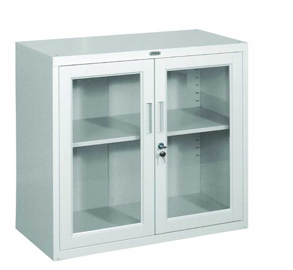Simple White Minimalist Glass Cabinets (Image 4 of 10)