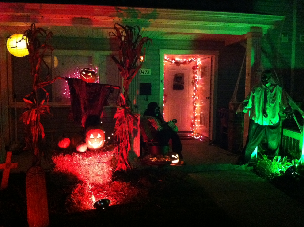 Terrace Halloween Decor With Jack O Lantern Details And Spooky Lighting Ideas Also Graveyard Background (Image 9 of 10)