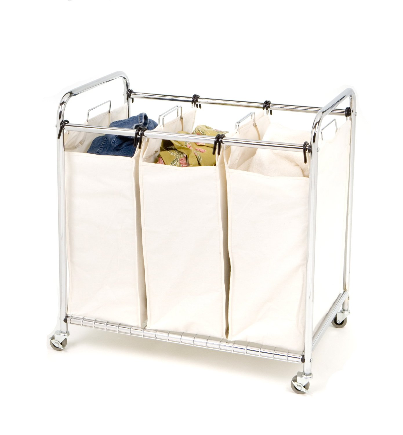 Triple Bin Laundry Basket on Wheels Ideas
