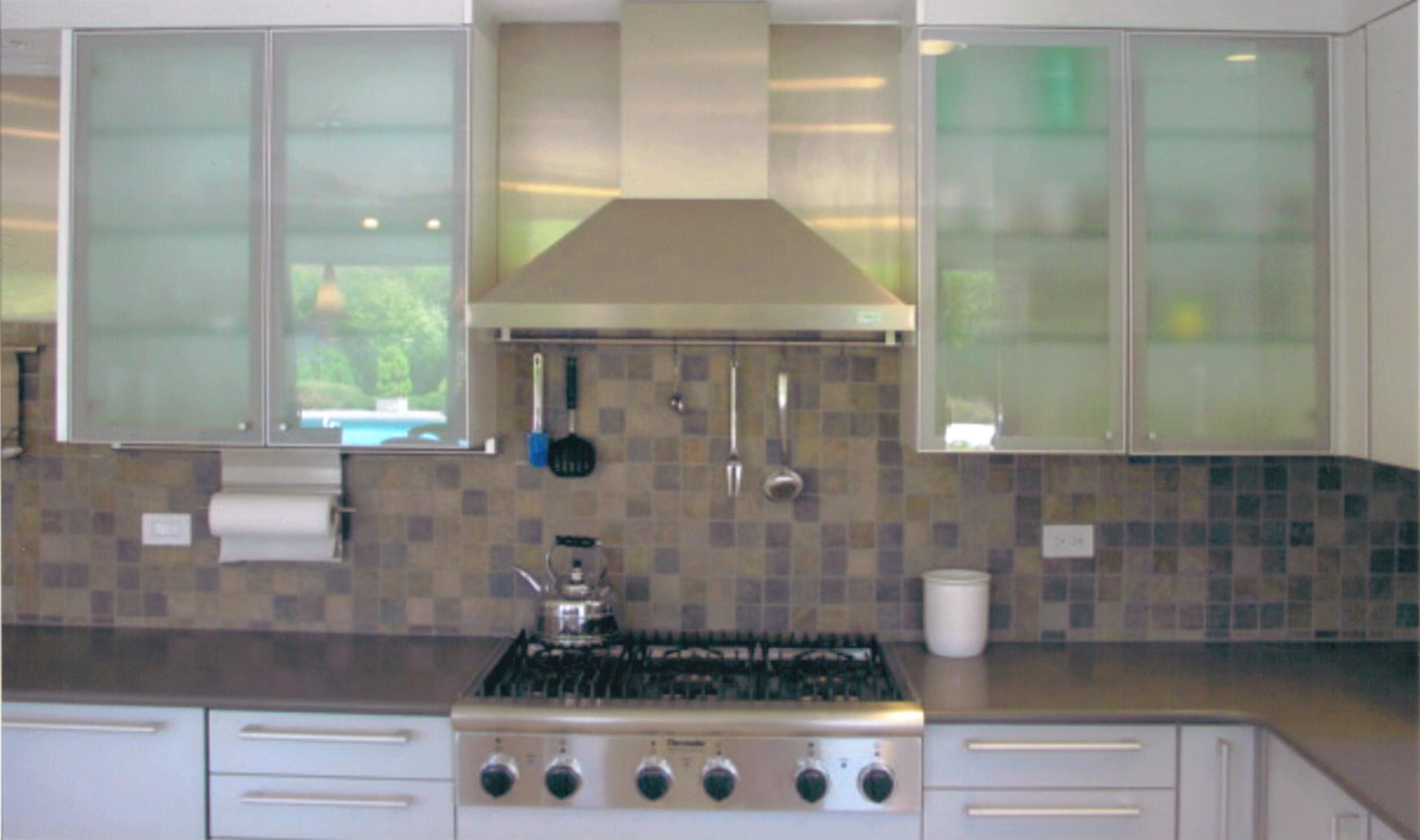 Twin Minimalist Glass Cabinets (Image 7 of 10)