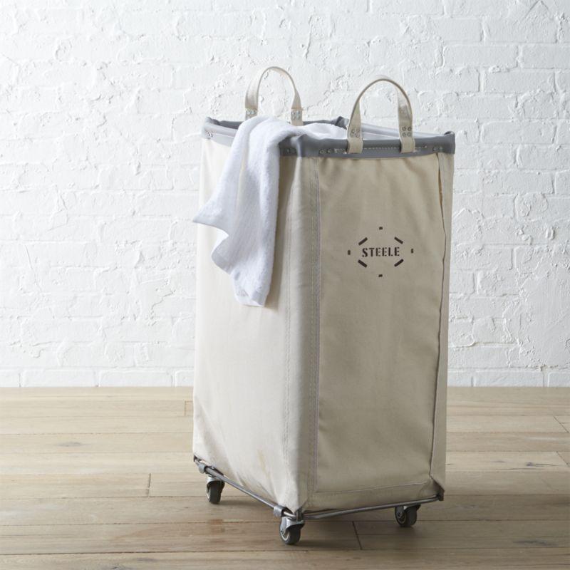Vertical Canvas Laundry Bin on Wheels