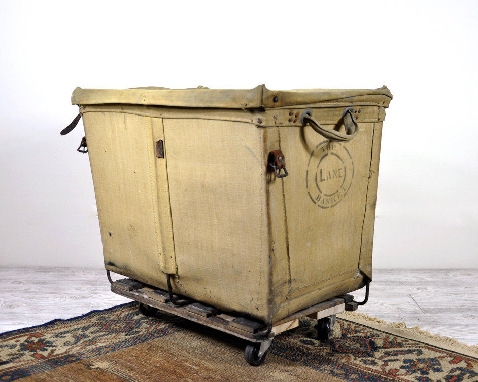 Vintage Industrial Laundry Basket on Wheels Ideas