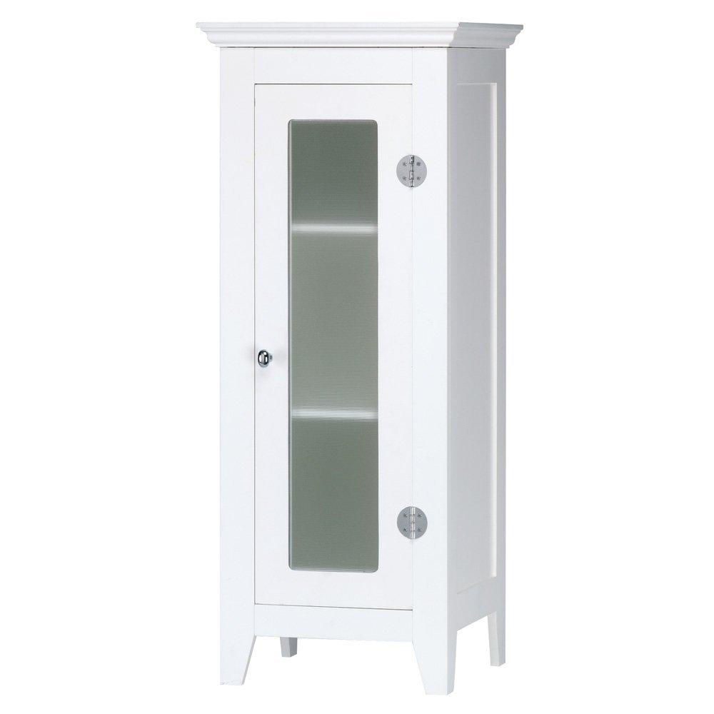 White Tall Minimalist Glass Cabinets (Image 9 of 10)
