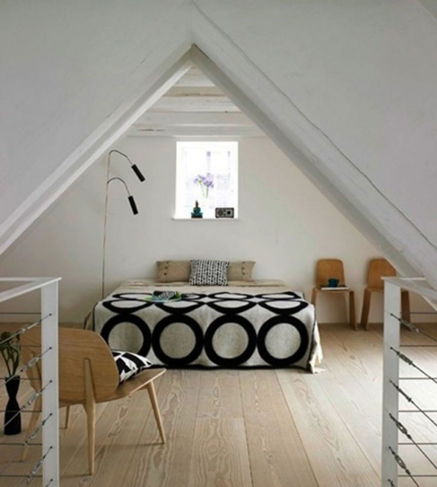 Attic bedroom design in contemporary style