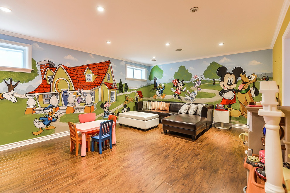 Living Room With Mickey Mouse Decorative Wall Theme (View 4 of 8)