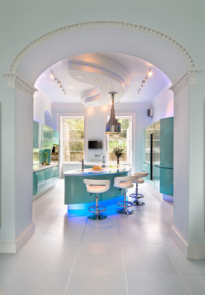 Beauty Futuristic Kitchen Interior In Modern Style (Image 1 of 21)