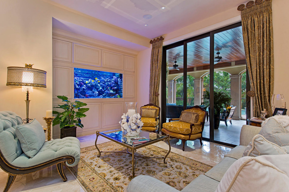 Classic Living Room With Aquarium And Beige Walls (View 13 of 21)