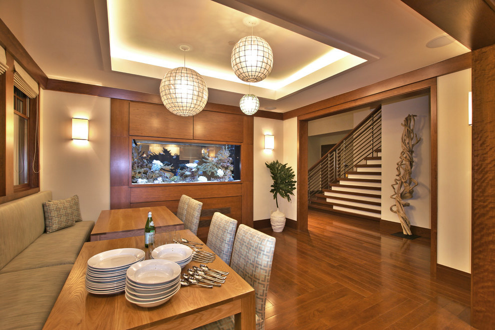 Contemporary Dining Room With Beige Walls And Aquarium (Image 6 of 21)