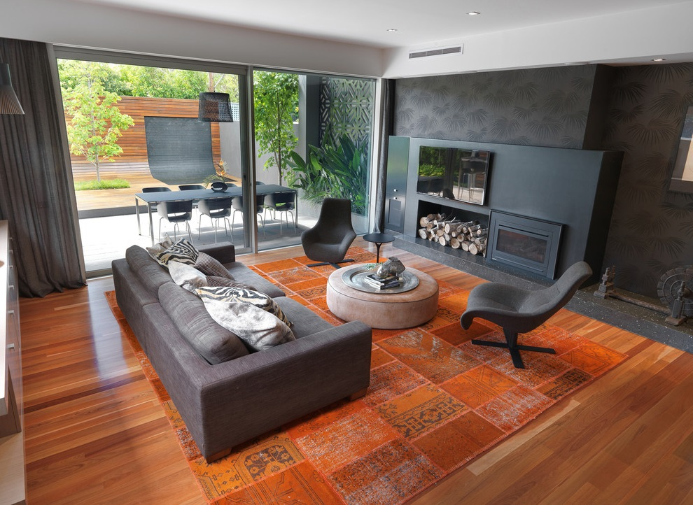 Contemporary French Living Room with Fireplace