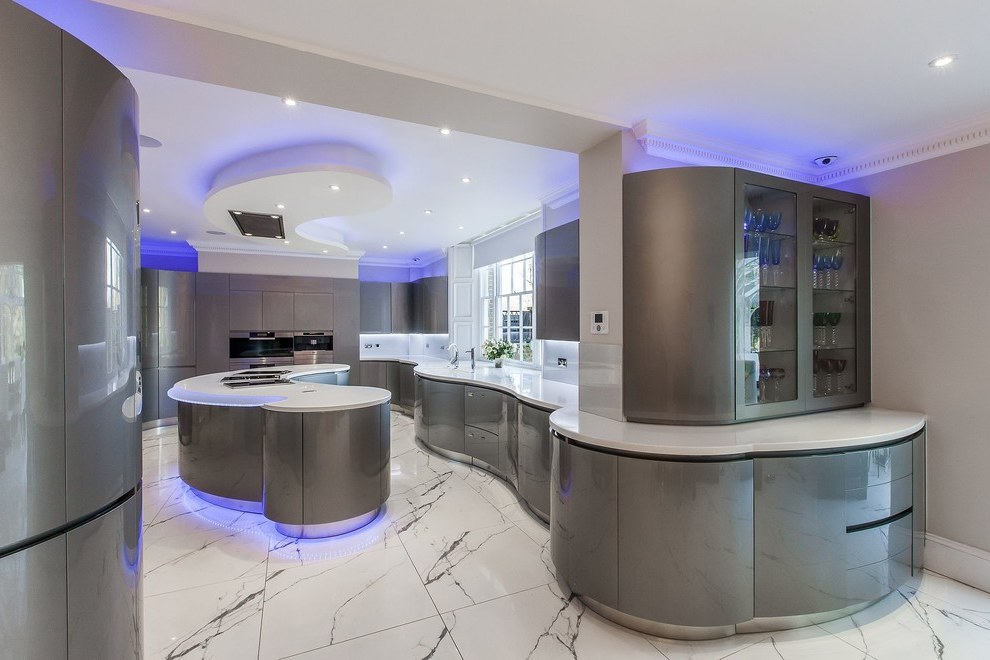 Contemporary Futuristic Kitchen Lighting with Blue LED