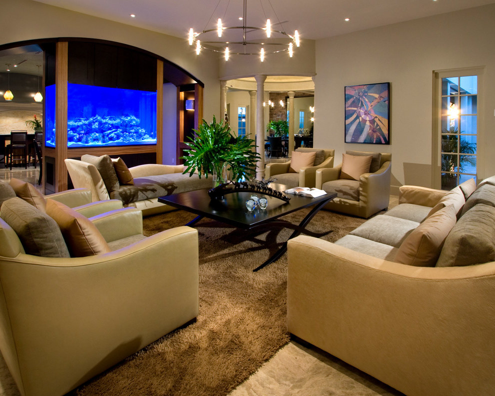 Division Of Living Room And Dining Room With Fish Tank In Center (View 17 of 21)