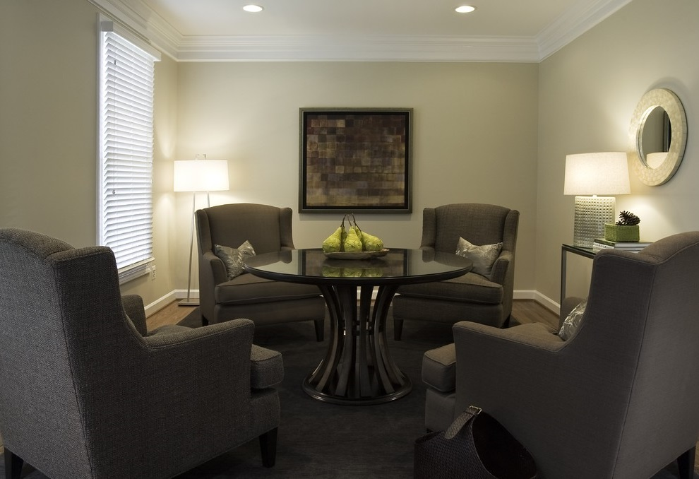 Formal Modern Living Room with Round Table