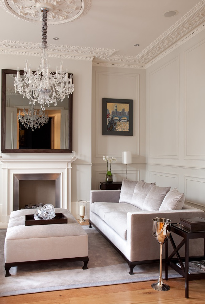 Formal Victorian Living Room With Crystal Chandelier (View 10 of 14)