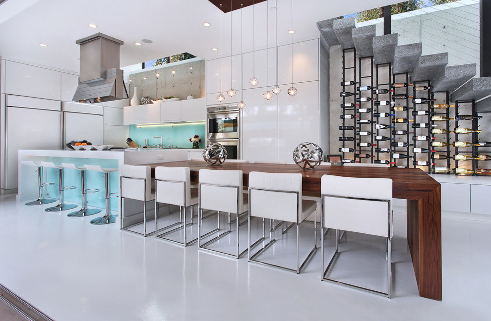 Futuristic Dining Room Combined with Futuristic Kitchen