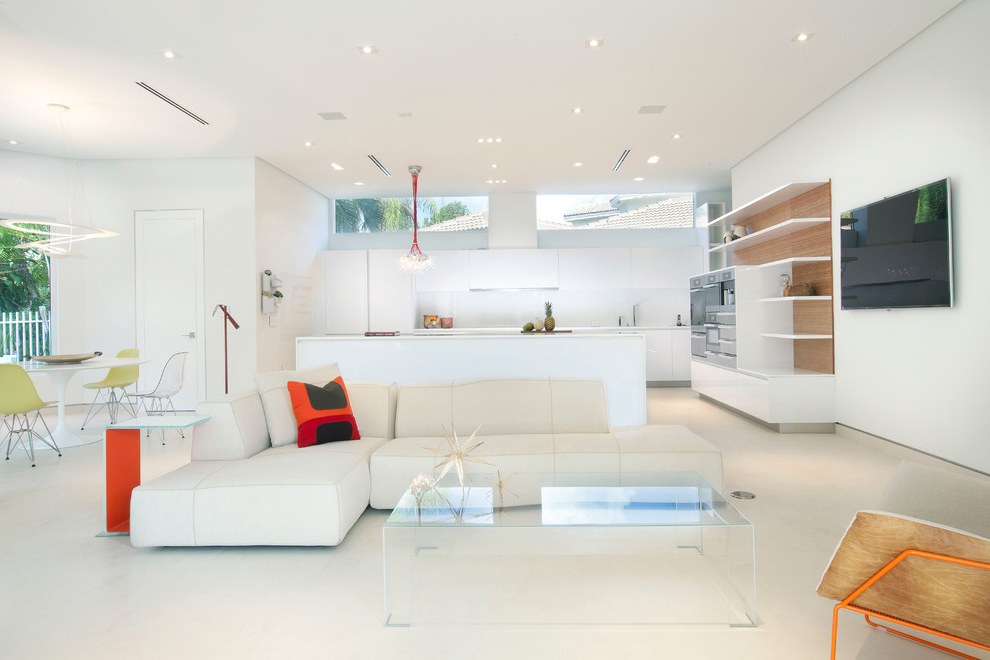 Futuristic Kitchen Combined With Futuristic Living Room (Image 7 of 21)