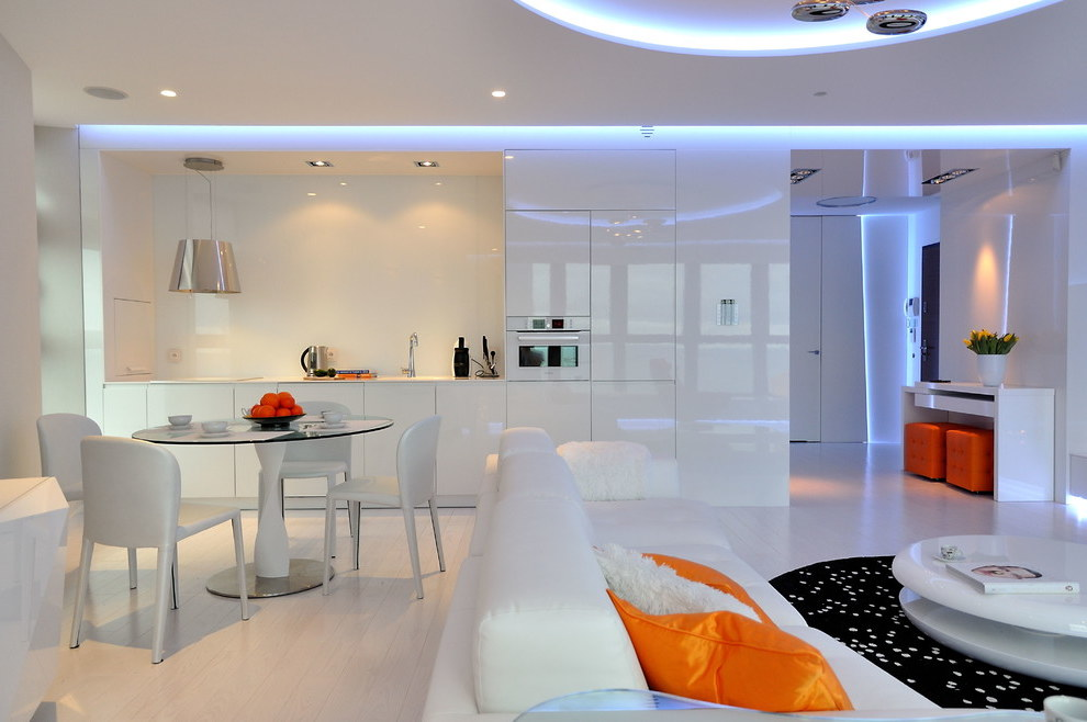 Futuristic Single Wall Open Kitchen With Flat Panel Cabinets (View 19 of 21)