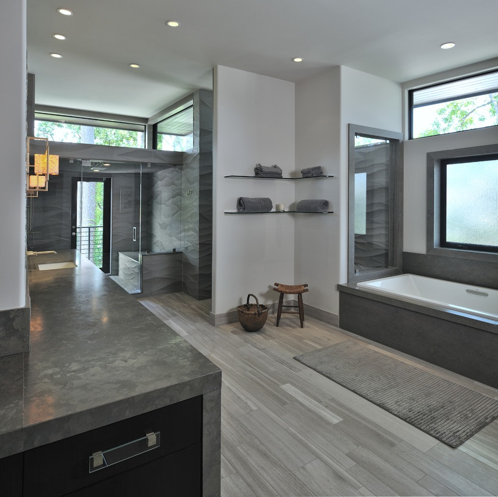 Grey Contemporary Bathroom With A Drop In Tub And Alcove Shower (Image 9 of 15)