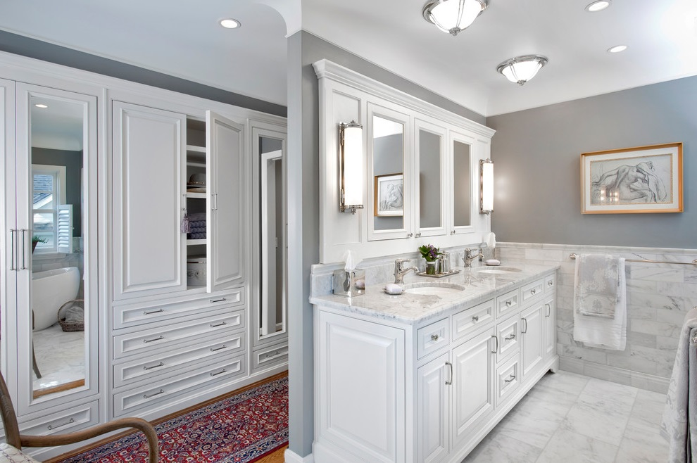 Marble Bathroom Vanity And Wooden Cabinet In Classic Design (Image 10 of 17)