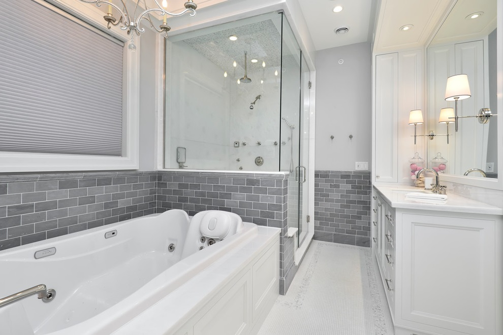 Modern Bathroom With Gray Walls And Mosaic Tile Floors (Image 10 of 15)