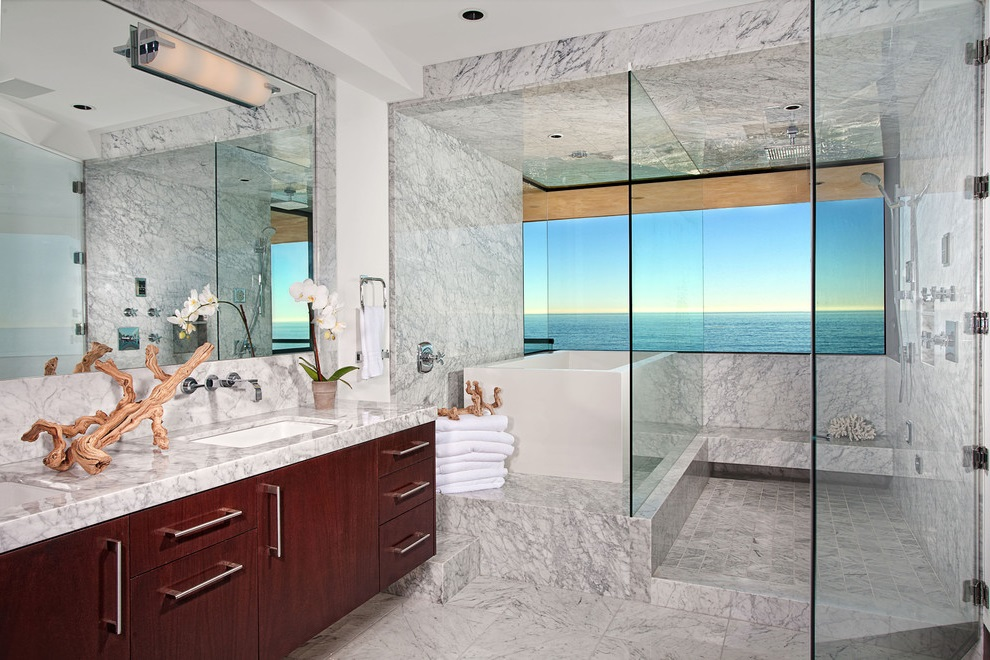 Ocean-Inspired Bathroom with White Marble Flooring and Tile