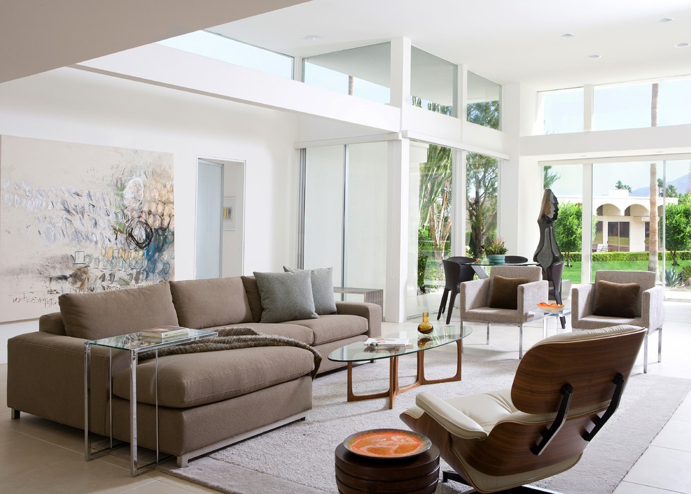 Soft Brown Color For Living Room Modern Sofa (View 14 of 18)
