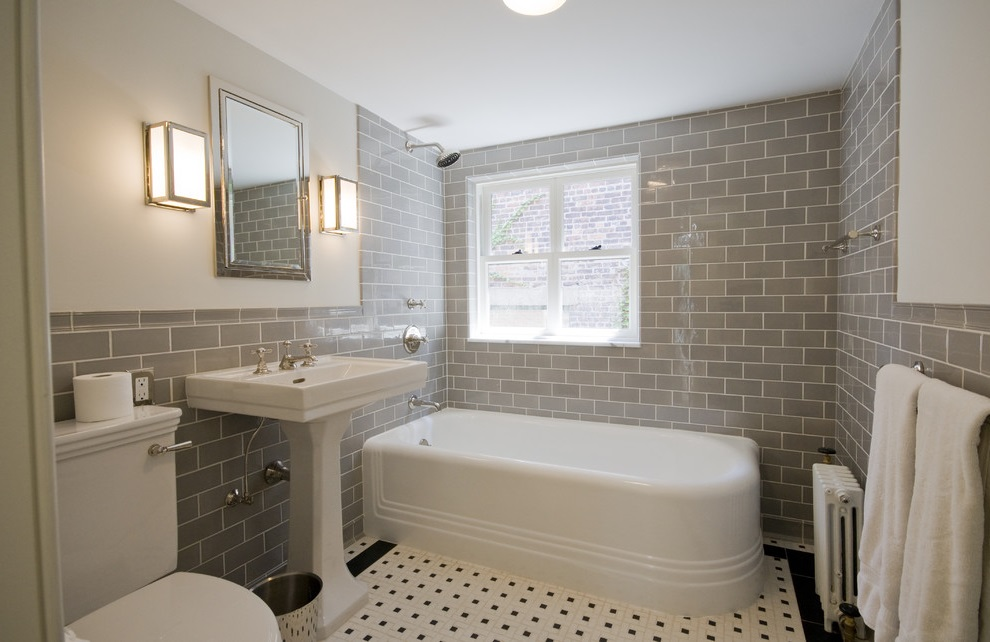 Traditional Bathroom with Corner Tub and Gray Tile