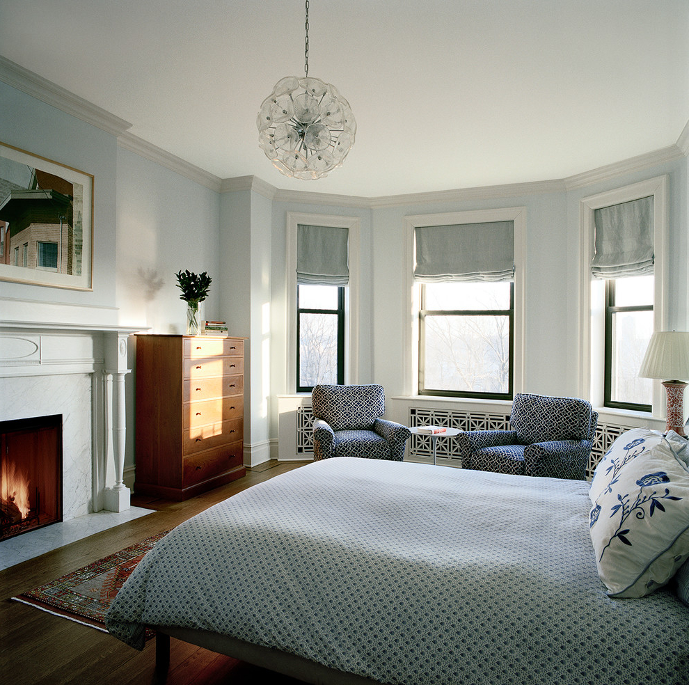 White Bedroom With Fireplace (View 13 of 22)