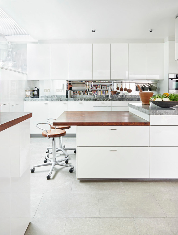 White Futuristic Kitchen Interior Decoration