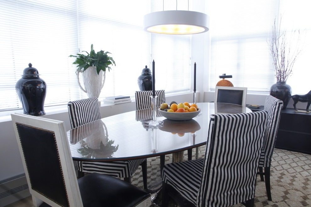 Dining Room Glass Table And Black White Chairs (Image 4 of 19)