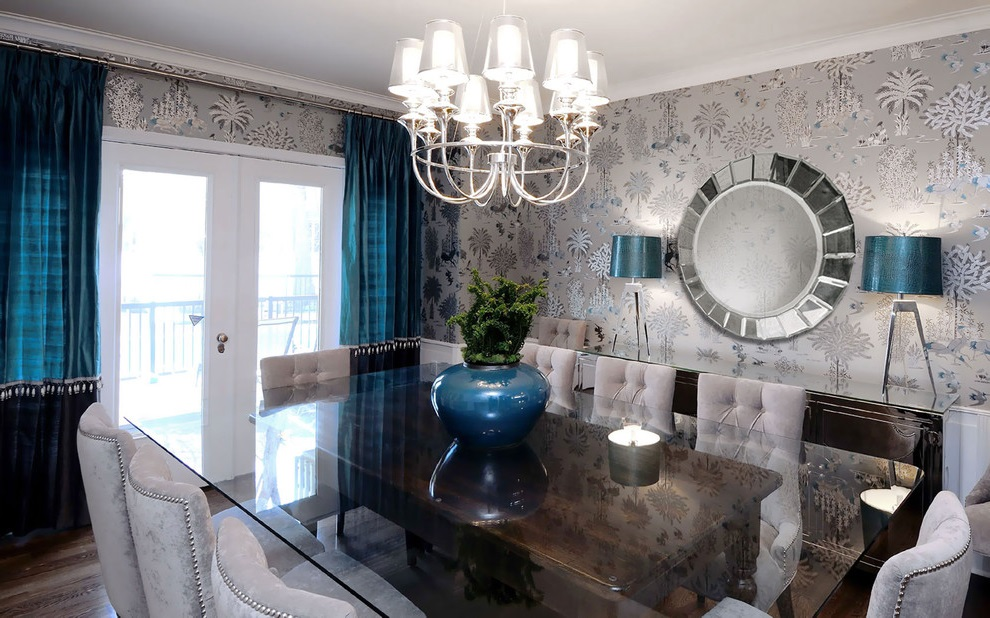 Elegant Dining Room Furniture With Table In Wood And Glass (Image 6 of 19)
