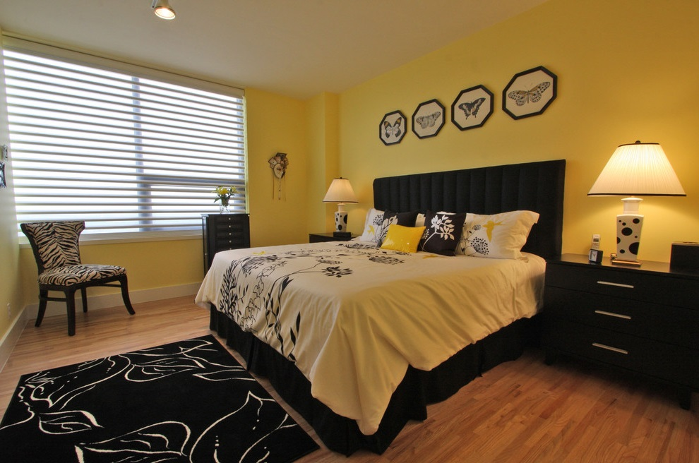 Yellow and Black Bedroom Color Decor