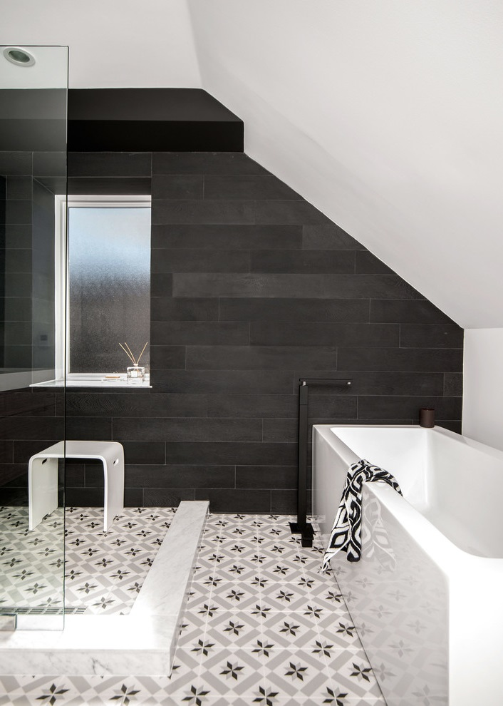 Attic Remodel to Contemporary Black and White Bathroom