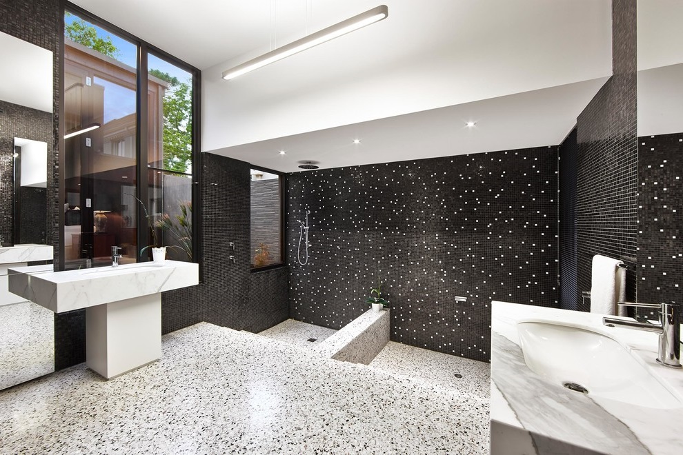 Bathroom Decor in Black-White Theme with Mosaic Tile and Black Walls