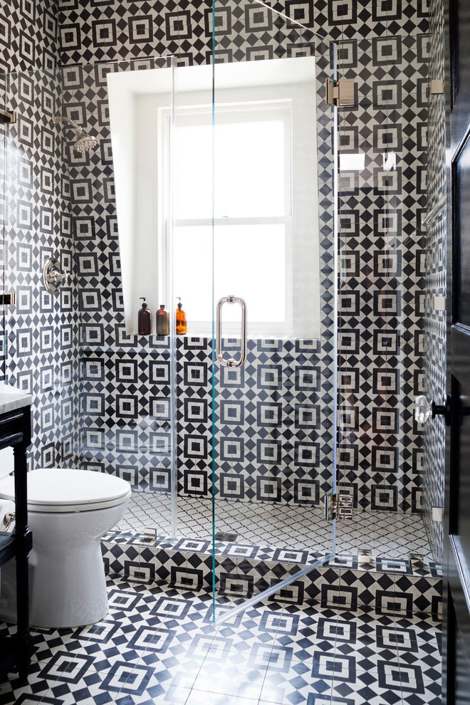 Black and White Bathroom Shower and Toilet