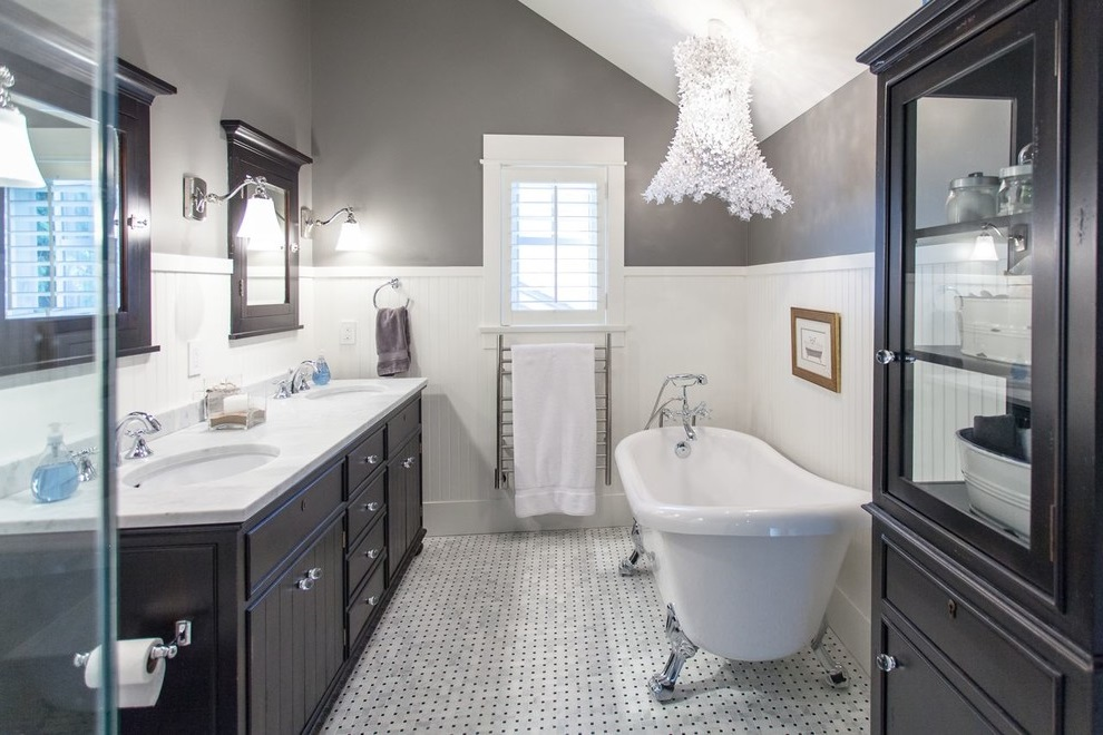 Black And White Bathroom: Great Decision For An Eye-Catching ... on grey powder room ideas, blue grey and black restroom, grey black tile restroom,
