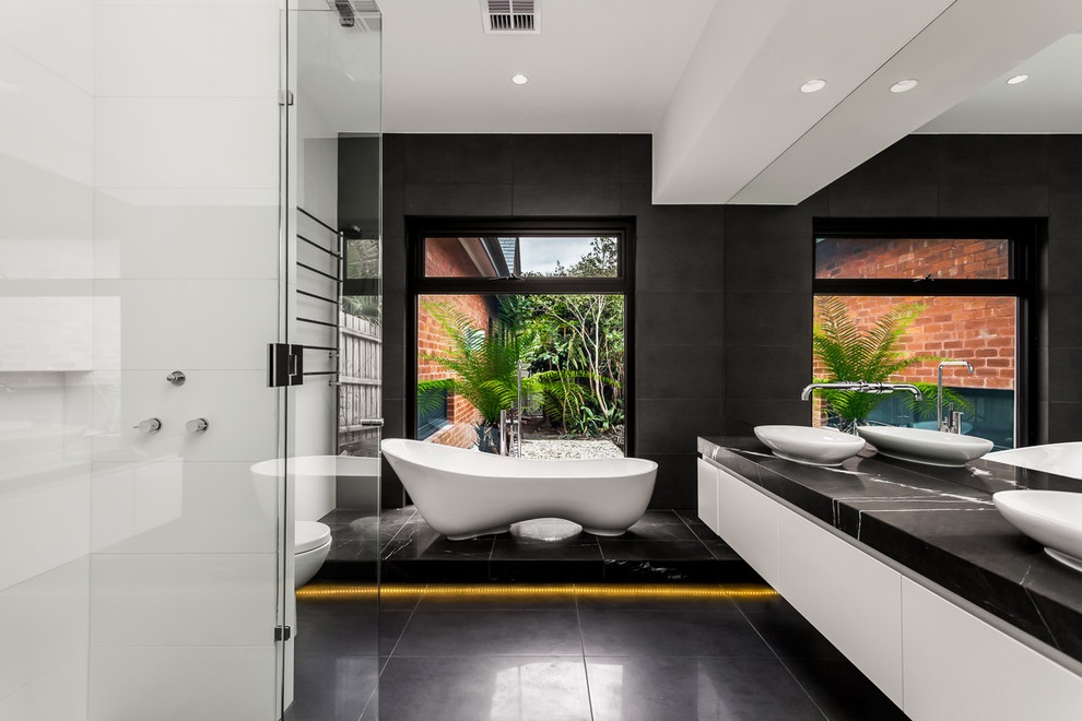 Luxury Black-White Bathroom with Dark Grey Marble Flooring
