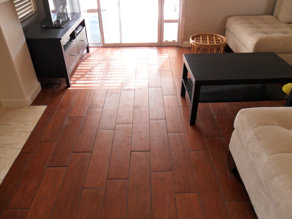 Adorable Living Room with Oak-Wood Porcelain Tile