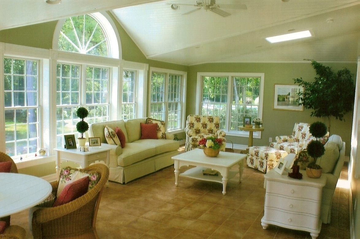 Affordable ceramic tile in a traditional living room