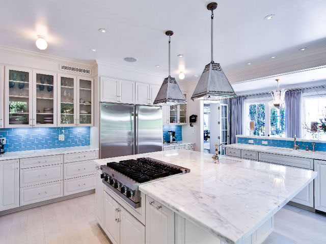 Amazing Contemporary White Kitchen with Marble Countertop