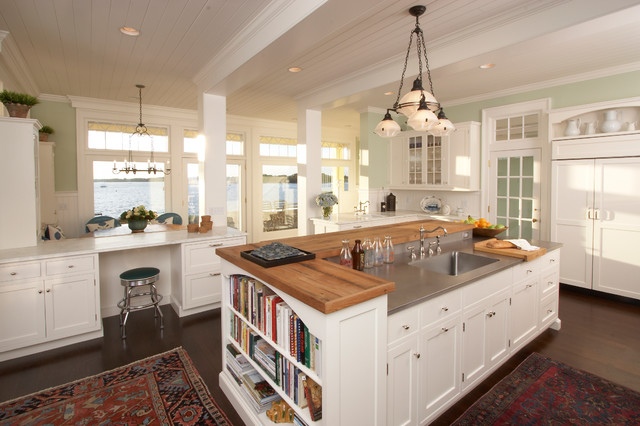 American Kitchen Interior with Book Shelves in Cabinet