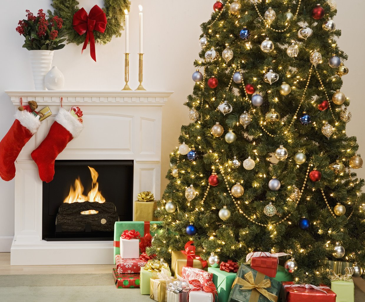 Attractive Cozy Living Room With Decorated Christmas Tree