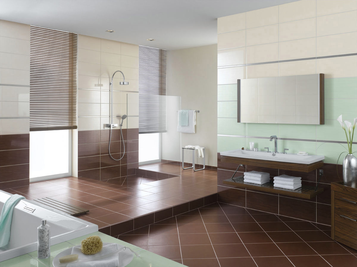 Awesome Modern Bathroom Brown Diamond Shape Ceramic Tile