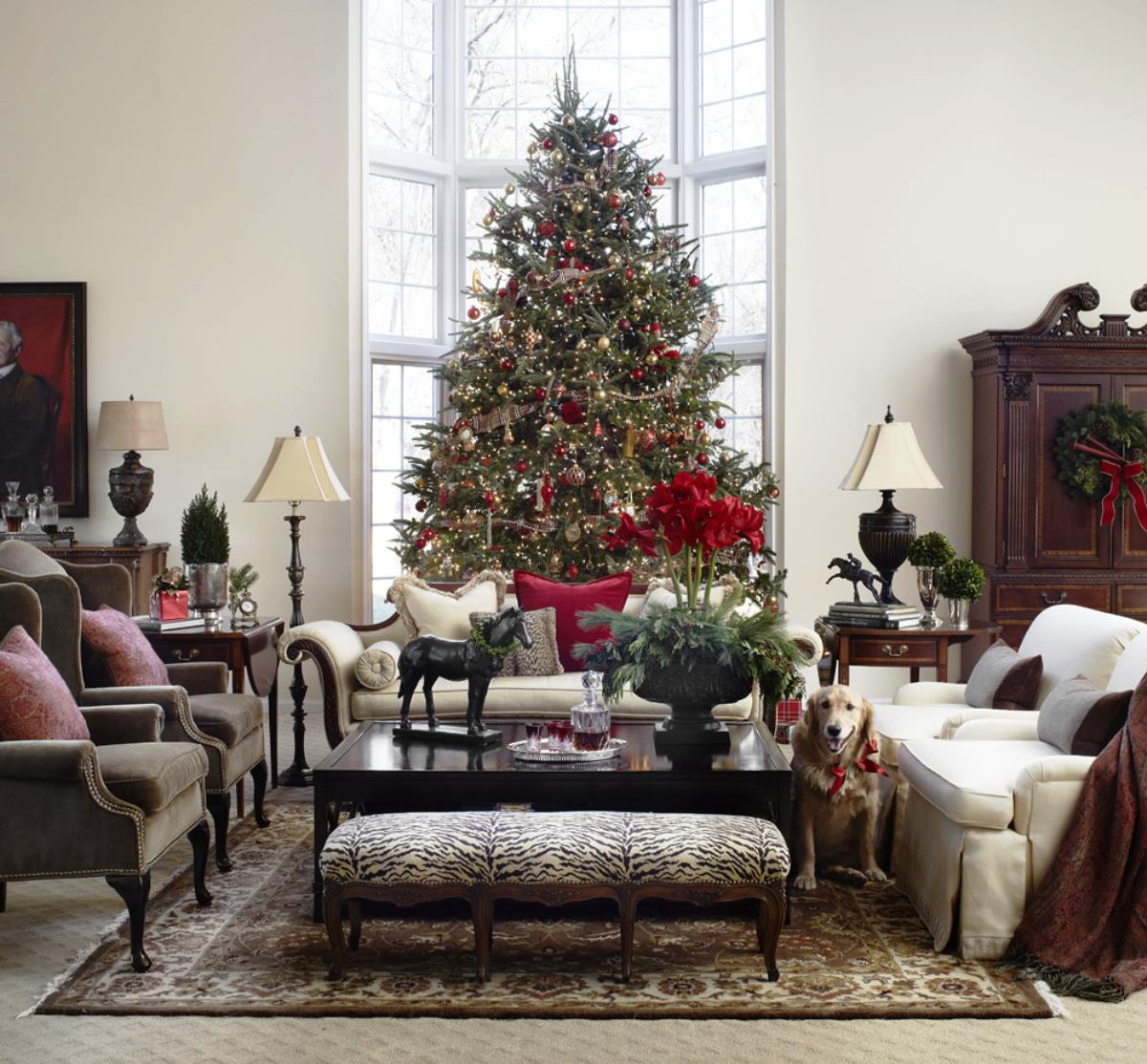 Merry Christmas Living Room Design With Big Tree For Classic Living